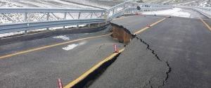 L'immagine del crollo dopo una settimana della rampa del viadotto Scorciavacche sulla Palermo-Agrigento