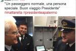 """""""Buon viaggio presidente"""", un tweet saluta Sergio Mattarella in volo per Palermo - Foto"""
