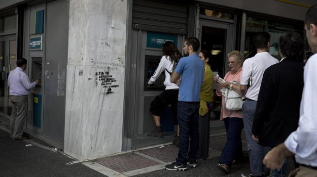 banche, bancomat, Grecia, soldi, Sicilia, Mondo