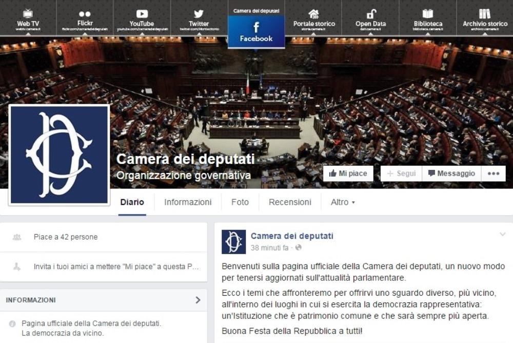 La camera dei deputati sbarca sui social attiva da oggi for Rassegna stampa camera deputati
