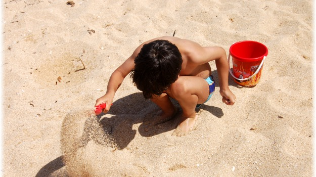 bambini, spiaggia, Sicilia, Vita