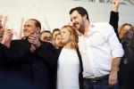 Silvio Berlusconi, Giorgia Meloni e Matteo Salvini - Foto Archivio