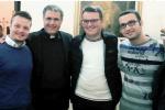 Da sinistra, Massimo Schiera, monsignor Lorefice, Gaetano Catania, Sergio Caputo e Giuseppe Collura