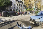 Palermo, scontro tra due auto in via Libertà: una si ribalta - Foto