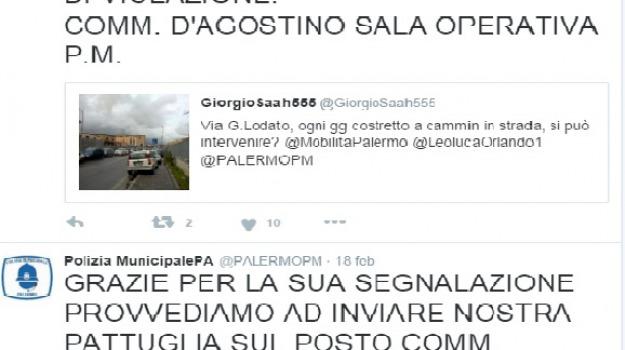 municipale, TRAFFICO, tweet, Palermo, Cronaca