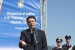 """Renzi al viadotto Himera, riapre carreggiata. """"Adesso mai più crolli, mai più scandali"""""""