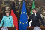 """Vertice a palazzo Chigi tra Renzi e Merkel: """"Sui migranti convergenza Italia-Germania"""""""