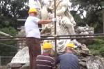 Statue di Villa Giulia a Palermo, via al restauro: il video degli operai all'opera