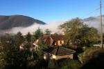 La nuvola di polvere causata dai nuovi crolli a Norcia - Fonte Ansa