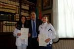 Il sindaco Orlando con gli atleti Andrea Orlando e Miriam Leone