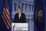 Il primo ministro britannico, Theresa May, interviene al Congresso dei Repubblicani a Filadelfia - Ansa