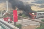 Camion in fiamme sulla A19, paura e traffico bloccato