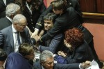 Il senatore della Lega Gian Marco Centinaio durante la protesta in Aula contro lo Ius soli - Ansa