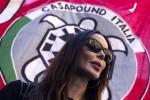 Nina Moric durante la manifestazione di Casapound contro lo Ius Soli - Ansa