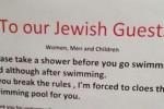 """""""Ebrei fatevi la doccia prima di entrare"""", proteste per un avviso in una piscina in Svizzera"""