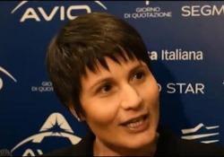 Samantha Cristoforetti al debutto di Avio in Borsa: «Il business dei satelliti è importante»