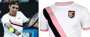 Federer, completino a strisce rosanero: la sua maglia ricorda quella del... Palermo