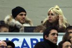 Inter's Mauro Icardi (L) with his wife Wanda Nara attend the Italian Serie A soccer match Inter FC vs FC Crotone at Giuseppe Meazza stadium in Milan, Italy, 03 February 2018.ANSA/MATTEO BAZZI