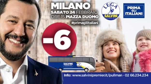 elezioni politiche 2018, Lega, prima gli italiani salvini, Matteo Salvini, Sicilia, Politica