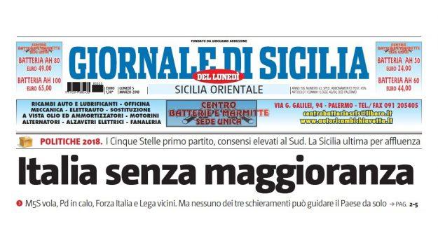 La prima pagina del Giornale di Sicilia in edicola