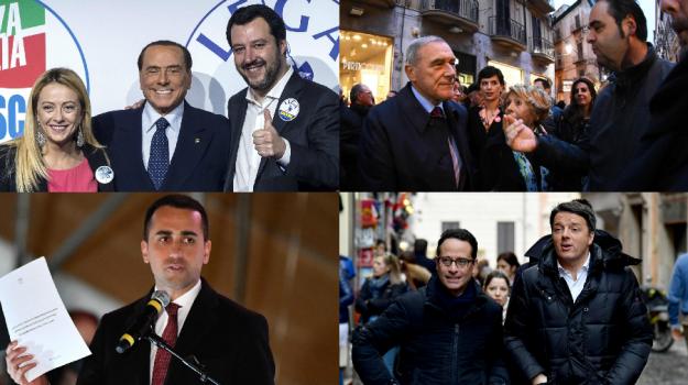 campagna elettorale, elezioni politiche 2018, Antonio Tajani, Giorgia Meloni, Luigi Di Maio, Matteo Renzi, Matteo Salvini, Paolo Gentiloni, Pietro Grasso, Silvio Berlusconi, Sicilia, Politica