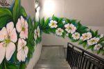 Un murale di mandorli in fiore nel parcheggio multipiano di Agrigento