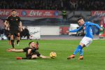 Napoli's midfielder Piotr Zielinski (R) and Roma's defender Kostas Manolas in action during Italian Serie A soccer match between SSc Napoli and AS Roma at the San Paolo stadium in Naples, 3 March 2018.ANSA / CIRO FUSCO