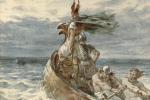 La mistica 'pietra del sole' di cui parlano le antiche leggende nordiche, avrebbe permesso ai vichinghi di orientarsi nella navigazione in mare aperto, anche in presenza di nebbia e nuvole (fonte: Frank Dicksee)