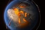 Rappresentazione artistica dei satelliti Swarm dell'Esa (fonte: ESA/ATG Medialab)
