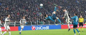 La rovesciata di Cristiano Ronaldo all'Allianz Stadium in Juventus-Real Madrid del 3 aprile 2018