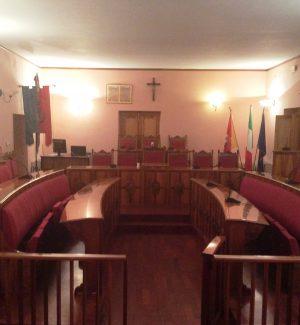 L'aula consiliare del palazzo municipale di Troina
