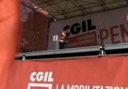 L'intervento del leader Cgil durante la manifestazione di Roma