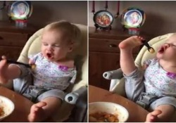La bimba russa nata senza braccia ha imparato a mangiare usando le dita dei piedini per stringere le posate