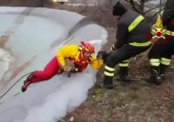 Era impossibilitata ad uscire dalle acque gelide di un lago artificiale a Fossato Di Vico (PG)