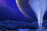 Rappresentazione artistica di un getto di vapore dalla superficie di Europa, la luna di Giove che nasconde un oceano sotto la superficie ghiacciata (fonte: NASA/ESA/K. RETHERFORD/SWRI)