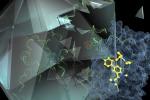 Rappresentazione grafica della molecola IMP-1088 (in giallo) mentre blocca la proteina NMT (in blu), che il virus del raffreddore utilizza per invadere le cellule umane proteggendo il suo materiale genetico (in verde) (fonte: Imperial College London)
