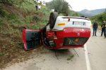 Incidente alla Targa Florio a Castelbuono, le foto dell'auto che si è ribaltata