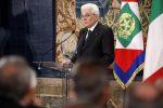 Il presidente della Repubblica Sergio Mattarella durante il discorso dell'1 maggio