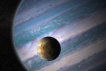 Rappresentazione artistica di una esoluna in orbita intorno a un pianeta gassoso gigante (fonte: NASA GSFC, JayFriedlander e Britt Griswold)