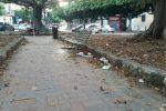 Rifiuti, cartoni ed erbacce: degrado nella villetta di piazza San Francesco Di Paola a Palermo