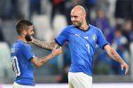 Lorenzo Insigne si congratula con Simone Zaza dopo il gol dell'1-0