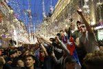 Mosca, la gioia dei tifosi per il primo gol dei Mondiali
