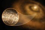 Rappresentazione artistica di nanodiamanti nel disco di polveri e gas che ruota intorno a una stella e dal quale nascerà un sistema planetario (fonte: S. Dagnello, NRAO/AUI/NSF)