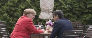 Il premier Giuseppe Conte e la cancelliera tedesca Angela Merkel