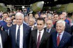 Il ministro del Lavoro Luigi Di Maio in visita allo stabilimento Leonardo di Pomigliano d'Arco