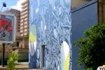 Un murales con il mare nel cuore in via Messina Marine a Palermo