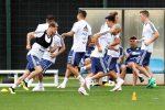 La Nazionale di calcio argentina durante un allenamento