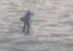 La bizzarra scena è stata filmata da alcuni passeggeri su un traghetto sul fiume newyorkese