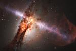 Rappresentazione artistica del quasar P352-15, l'oggetto più brillante del baby universo (fonte: NASA Goddard)