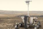 In primo piano la ricostruzione del rover europeo di ExoMars 2020 in cerca di un nome. Sullo sfondo la piattaforma scientifica fissa realizzata dall'agenzia spaziale russa Roscosmos e dall'Accademia delle scienze russa (fonte: ESA/ATG medialab)